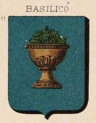 Fig. 4. Stemma parlante della famiglia Basilicò (da V. Palazzolo Gravina, Il Blasone in Sicilia, Palermo 1871-75, tav. XVIII, n° 11).