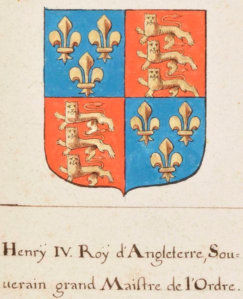 """Fig. 2. Stemma del re d'Inghilterra Enrico IV. Armes, noms et qualités de touts les chevaliers du tres noble ordre de la Jartiere, qui ont esté depuis l'institution dudit ordre, faicte, l'an 1350, par Eduard 3, roy d'Engleterre, jusqu'à present 1647; par Charles Soyer, genealogiste et enlumineur du roy"""" (1601-1700), BNF, ms. fr. 2775, fol. 24r."""