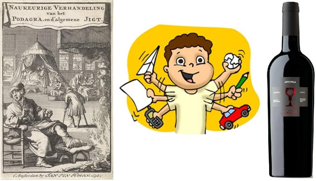 Nell'ordine: l'artètica in una stampa del 1698, un ragazzino con l'artètica e l'Artetica della Schola sarmenti