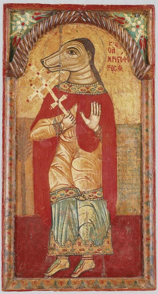 San Cristoforo Cinocefalo in affresco custodito nel Museo bizantino e cristiano di Atene