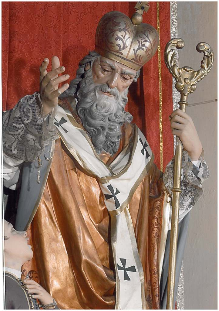 Nardò. La statua di S. Biagio venerata nella chiesa di S. Teresa (cartapesta, 1888)