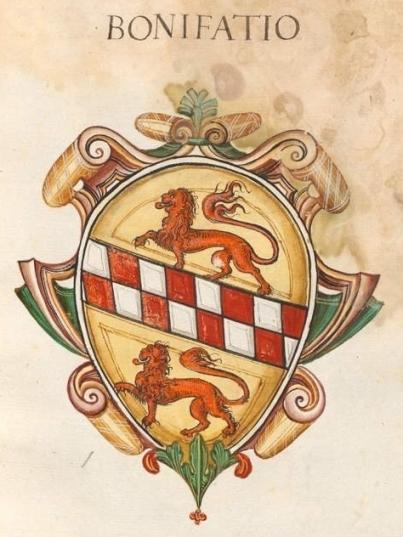 Fig. 6 – Bayerische Staatsbibliothek (Biblioteca Nazionale Bavarese), BSB Cod.icon. 279 (1550-55), fol. 35r. Arma della famiglia Bonifacio: «d'oro, alla banda scaccata di due file d'argento e di rosso, accostata da due leoni illeoparditi dello stesso»