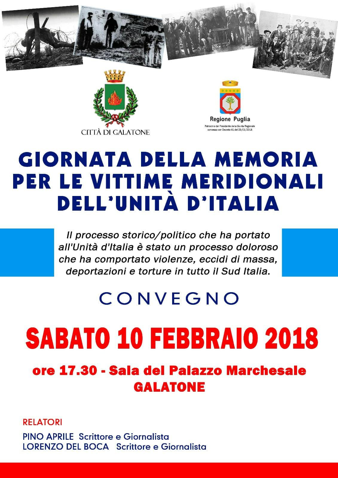Prima Giornata della Memoria per le vittime meridionali dell'Unità d'Italia. A Galatone