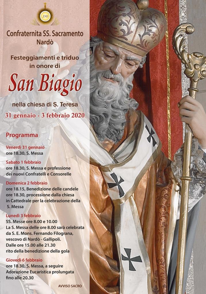 Nardò, San Biagio nella chiesa di Santa Teresa. Si rinnova il rito della benedizione della gola