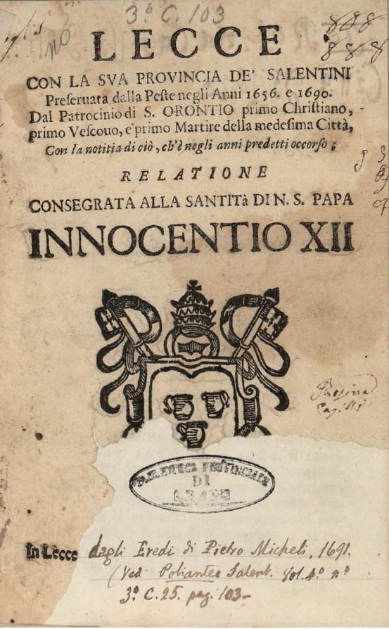 Lecce, S. Oronzo e la peste nel 1656 e nel 1690