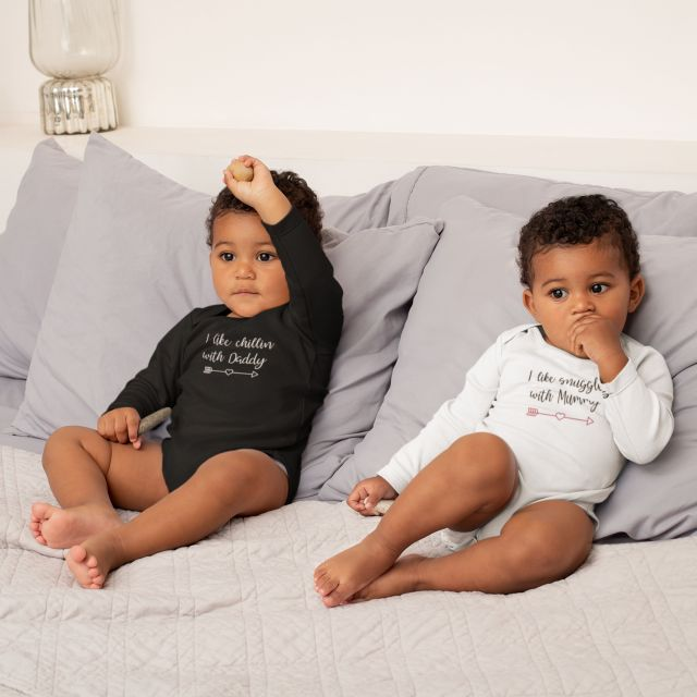 Chillin With Daddy Snuggles With Mummy Twins LS Babygrow Set - White / White / 6-12 Months