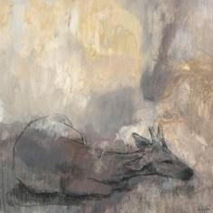 Jeune cerf couché, 60x60 cm, acrylique et fusain sur toile, Lucie Geffré 2018