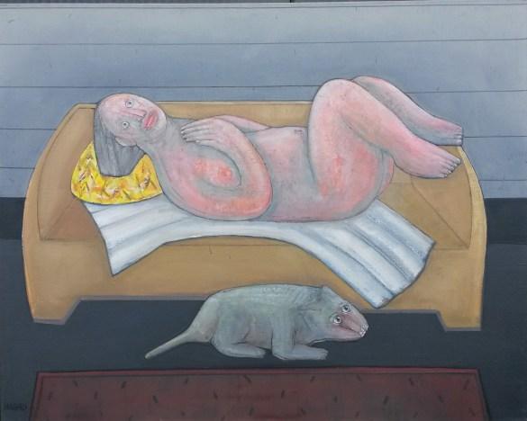 Sur le canapé II, Abraham Hadad, 2012_huile sur toile 92x73 cm