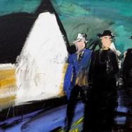 Aramits, l'ancien institueur, le curé et le notaire, Labégorre 2014_65x54 cm 15F acrylique sur toile