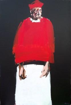 Cardinal au surplis et à la barette, Labégorre 2016, 195x130 cm 120 F acrylique sur toile