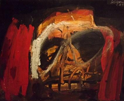 Crane disposé sur table rouge, Serge Labégorre 2009, 38x46 cm 8F Acrylique sur toile