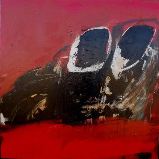 Crane, profil, noir et rouge, Serge Labégorre 2013_100x100 cm acrylique sur toile