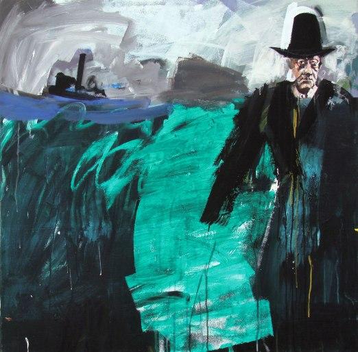 De là à là, le grand temoin, Biarritz la barre, numéro 2, Serge Labégorre 2014_100x100 cm acrylique sur toile