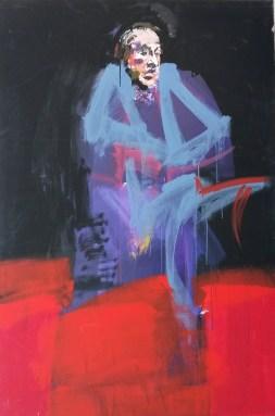 Evêque au col blanc, Serge Labégorre 2016_195x130 cm 120F acrylique sur toile