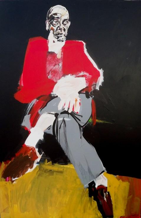 Homme au cardigan rouge, Labégorre 2016, 195x130 cm 120F acrylique sur toile