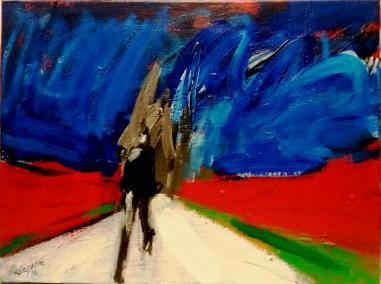 L'allée de la chapelle, Serge Labégorre 2016 _46x61 cm 12P acrylique sur toile