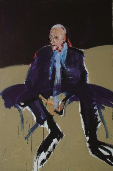 L'homme en bleu, Serge Labegorre 2014 _ 195x130 cm 120 F acrylique sur toile
