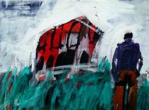 Maison rouge à Vayrac, Serge Labegorre 2015 - 50x61 cm 12 F Acrylique sur toile