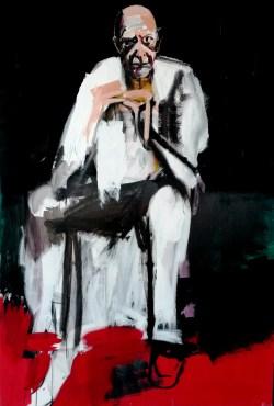 Pape blanc assis sans titre; Serge Labégorre 2016 _ 120 F_195x130 cm acrylique sur toile
