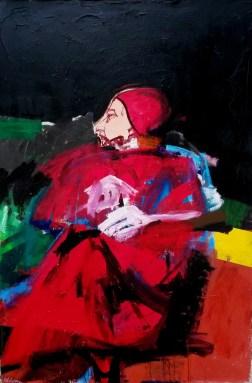 Pape rouge, Labégorre 2002, 195x130 cm acrylique sur toile