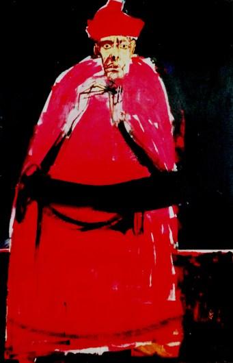 Pape rouge aux mains croisées_Labégorre 2013_195x130cm 10F acrylique sur toile
