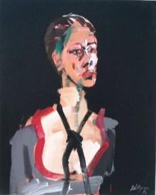 Portrait d'Anne au foulard noir, Serge Labégorre 2016 _ 81x65 cm 25F acrylique sur toile