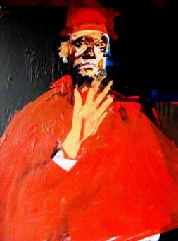 Prélat à la main sur l'épaule, Serge Labegorre 2012_100x81 cm_40 F acrylique sur toile