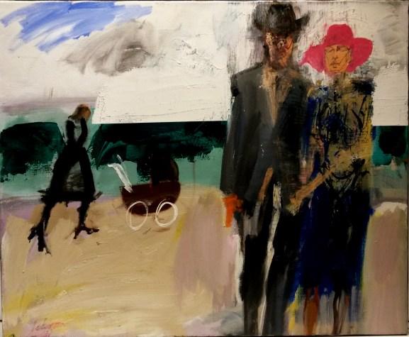 Trois fées sur mon landau, Biarritz 1932_ Serge Labégorre 2013_60x73 cm 20F acrylique sur toile