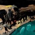 Crâne sur vert et noir, Serge Labégorre 2002, 46x55 cm 10F at 02