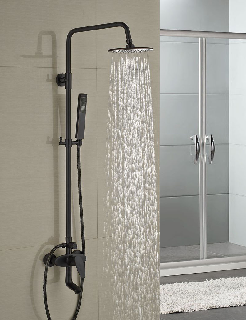 Fontana Milo Round Style Oil Rubbed Bronze Shower Faucet Set W Hand Shower Sprayer