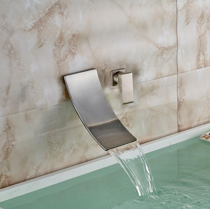 bilbao wall mount brushed nickel single handle waterfall bathtub faucet