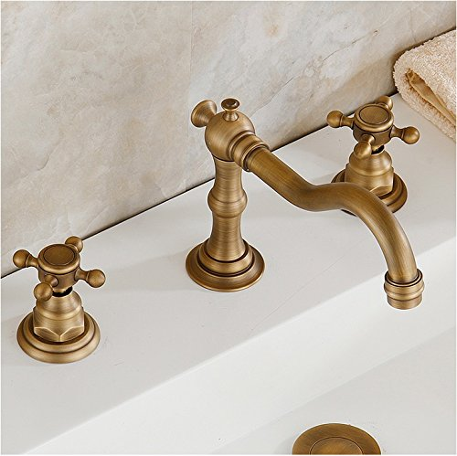 eulma deck mount double handle bathroom sink faucet