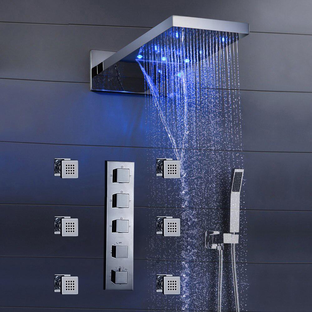 fontana mugla 22 led thermostatic waterfall rain shower head with massage body sprays and hand shower
