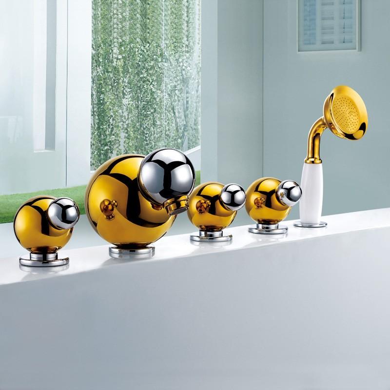 santiago gold finish bathtub faucet and handheld shower set