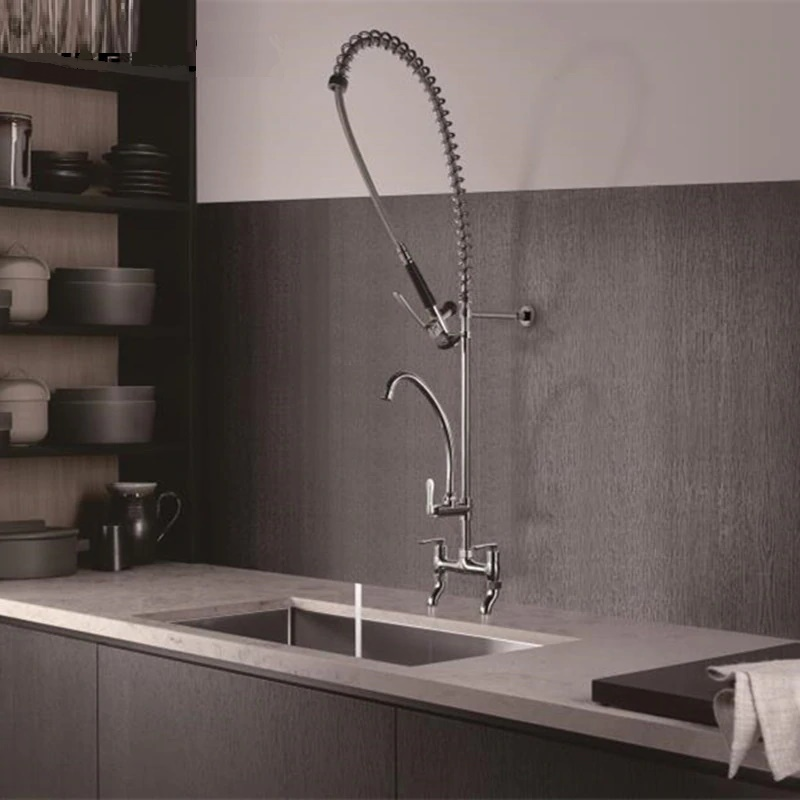 commercial wall mount faucet with sprayer