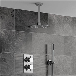 Fontana Sierra Series Round Ceiling Mount Ultra Thin Bathroom Shower Head Set In Chrome Finish