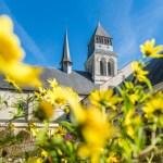 Cloître en fleurs - Vue sur le clocher de l'église abbatiale - Fontevraud