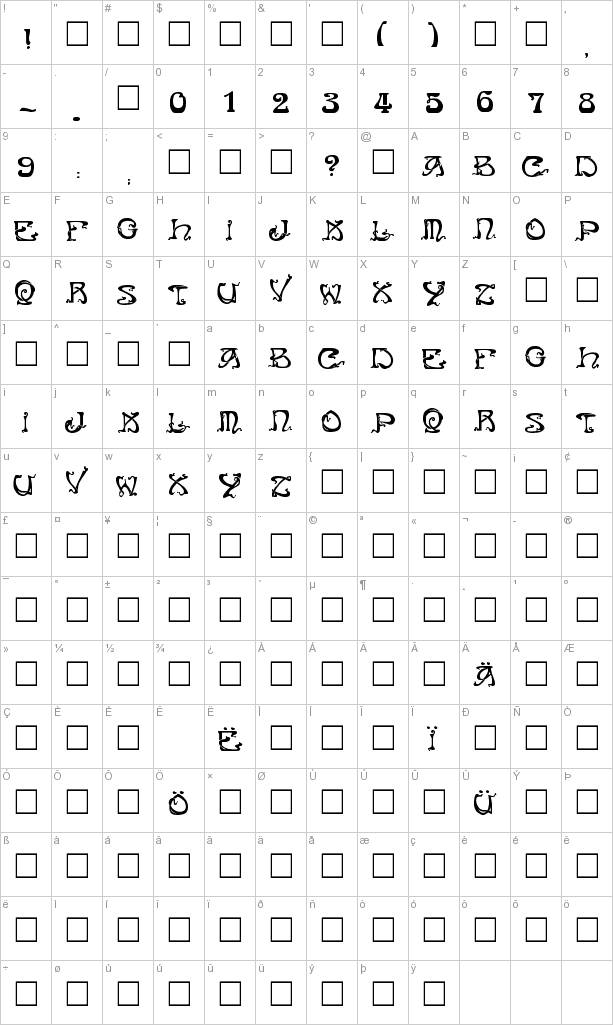 Here's a partial character map for Art Nouveau Caps font.
