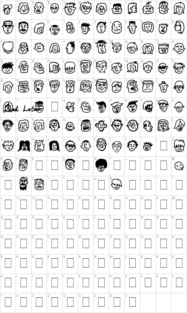 Here's a partial character map for People freak font.
