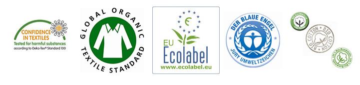 Hier die Siegel in Reihenfolge der Nennung: Oeko-Tex, GOTS, EU-Ecolabel, Blauer Engel und Biobaumwolle.