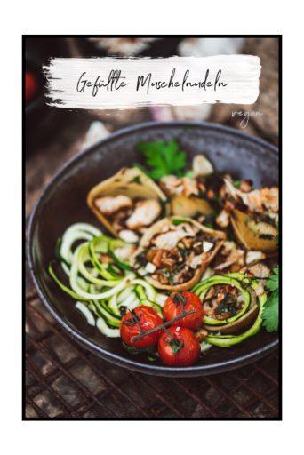 Gefüllte Muschelnudeln mit Blumenkohl, Spinat und Mandeln – leckeres und einfaches, veganes Rezept