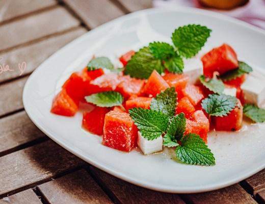 Wassermelonen Feta Salat – vegan, glutenfrei, Rezept