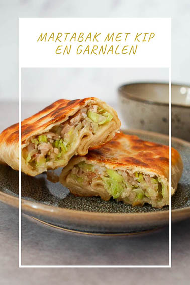 Martabak met kip en garnalen | Pinterest
