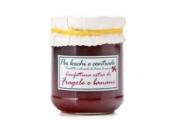 confettura extra di fragole e banane marmellata di fragole e banane boschi e contrade confettura italiana marmellata italiana basilicata lucania