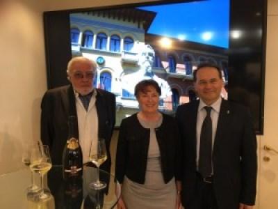 Etile Carpenè, Damiana Tervilli, Floriano Zambon durante la presentazione di questa mattina a Vinitaly