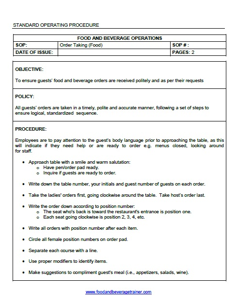 Sop Format Basic Standard Operating Procedure Template Standard