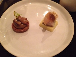 Porcini shortbread and mackerel with corn