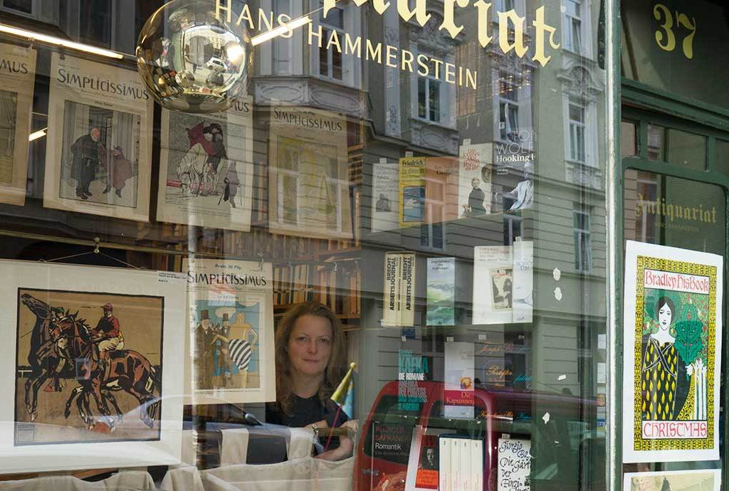 Petra Hammerstein, in her antiquarian at Turkenstraße 37, Munich.
