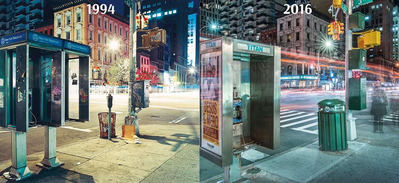 Zwei Bilder von der Kreuzung East 23th Street und 3rd Avenue nebeneinander gestellt. Das Erste aufgenommen 1994, das Zweite von 2016.