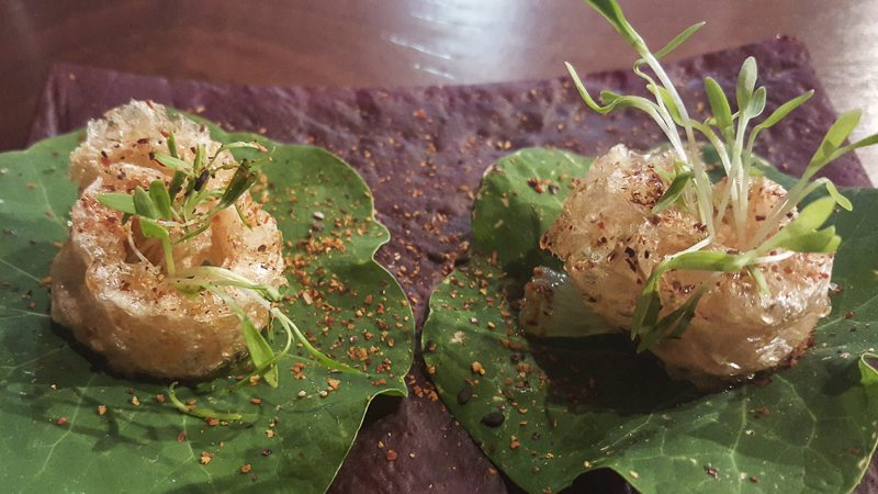 Thai lily pads with pork crackling